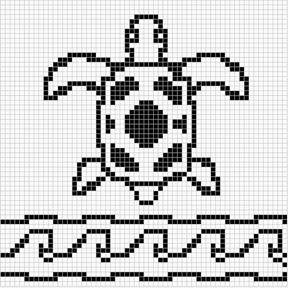 Ravelry: Sea Turtle Chart Remix pattern by Melanie Nordberg. ☀CQ #crochet #charts #tapestry: