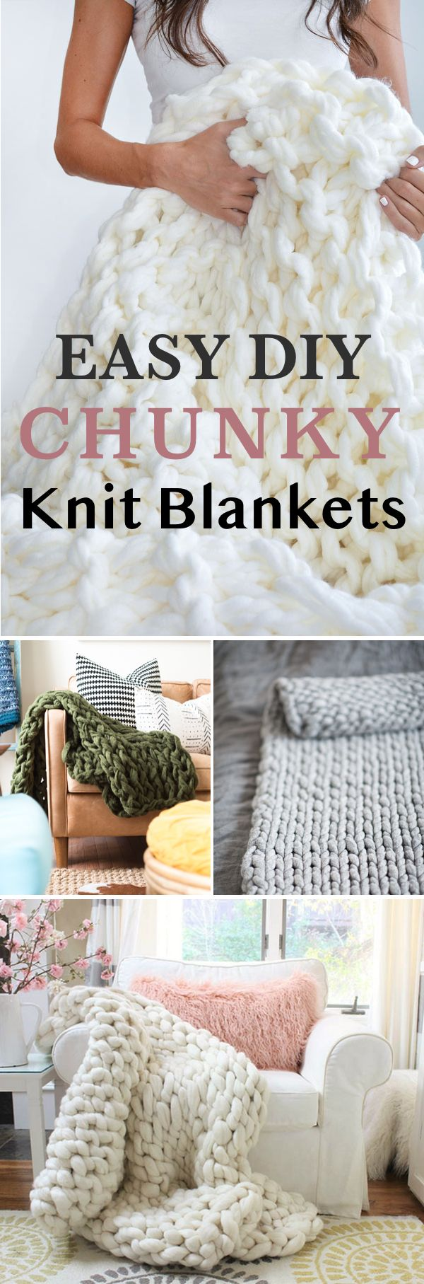 Trendy chunky knit blankets DIY tutorials! Learn how to arm knit your cozy blanket with easy instructions!
