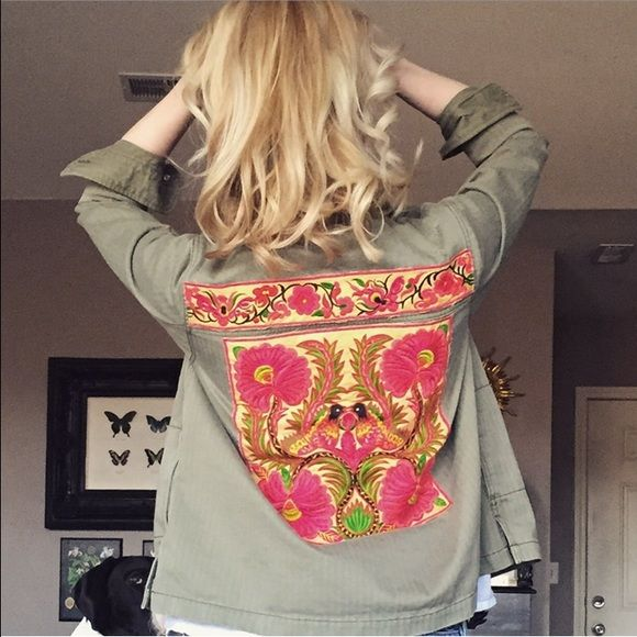 American Eagle Military Jacket HAND EMBELLISHED This is a brand new current season American Eagle Military Shirt Jacket, size medium, which I have hand applied Hmong Embroidery panels to. One of a kind, and GORGEOUS. American Eagle Outfitters Jackets & Coats