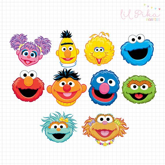 Sesame Street Characters Head Clipart by Parteestry on Etsy