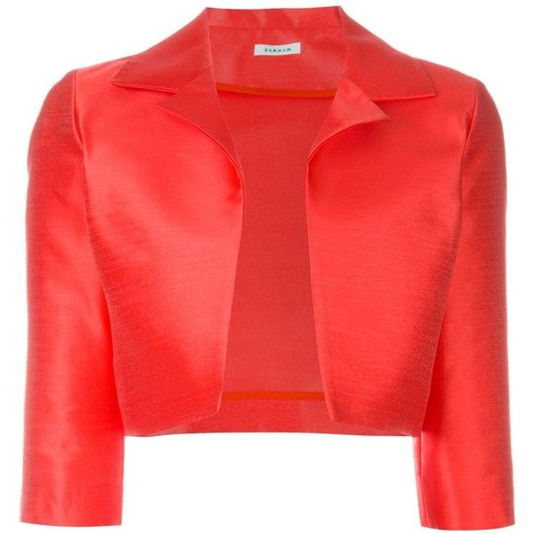 P.A.R.O.S.H. Cropped Jacket (7.147.660 IDR) ❤ liked on Polyvore featuring outerwear, jackets, red, red jacket, red cropped jacket, cropped jacket and p.a.r.o.s.h.