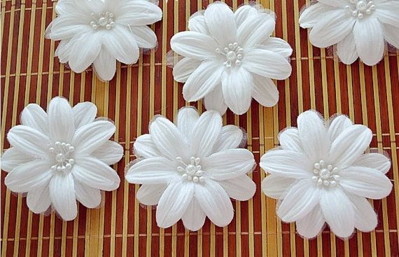 3 Silk Flowers Pearl Center White 3 Bridal Flower Applique Low