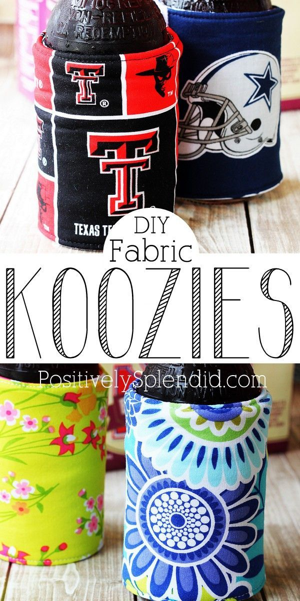 DIY Koozies - Perfect for making with any fabric! What a fun idea for summer!Diy Koozie, Diy Sewing Gifts, Fabric Koozie, Gift Ideas, Diy Fabrics, Diy Insulators, Beverages Holders, Diy Drinks For Kids Fun, Fabrics Koozies