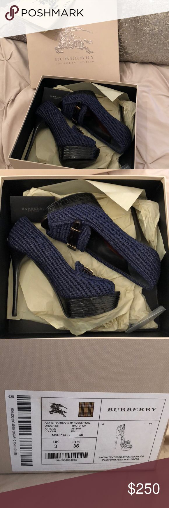 BURBERRY Gorgeous authentic BURBERRY blue tweeted heels. Never worn and in PERFECT condition. Comes with box, dust bag, heel stoppers and authenticity card. EU size 38, fits a US 7.5-8. Made in ITALY! Burberry Shoes Heels
