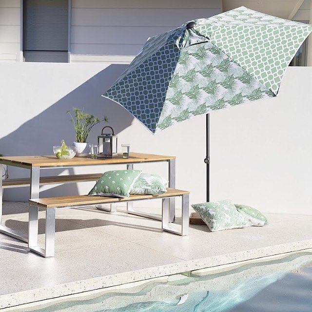 Outdoor luxury #3beaches #tropical #palm #palmleaves #palmtrees #greenandwhite #umbrella #cushions #outdoorfurniture #outdoorliving