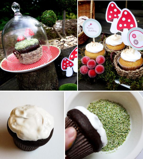 """chocolate muffins covered in """"edible moss"""" (dessicated coconut mixed with green food coloring)"""