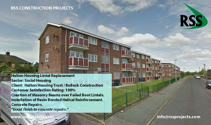 Creation of Masonry Beams over Failed Boot Lintels. Installation of Resin Bonded Helical Reinforcement. Concrete Repairs. http://www.rssprojects.com/Case Studies/halton-housing-lintel-replacement