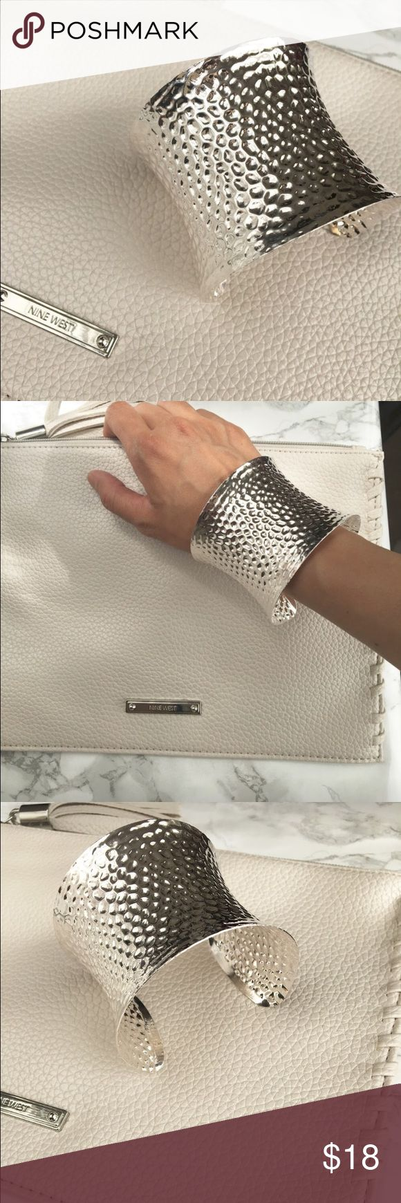 """Celebrity Stanley  statement cuff bracelet Large statement cuff bracelet . Bold bohemian style. In metallic silver . Also comes in gold. High style 2.5"""" wide. Adjustable . Please keep away from direct contact with perfume, lotions n cream of any kind. ❤️❤️❤❤️️👉🏼Follow me on  📸INSTAGRAM: @chic_bomb  and 💁🏻📘FACEBOOK: @thechicbomb❤️❤️❤️❤️ CHICBOMB Jewelry Bracelets"""