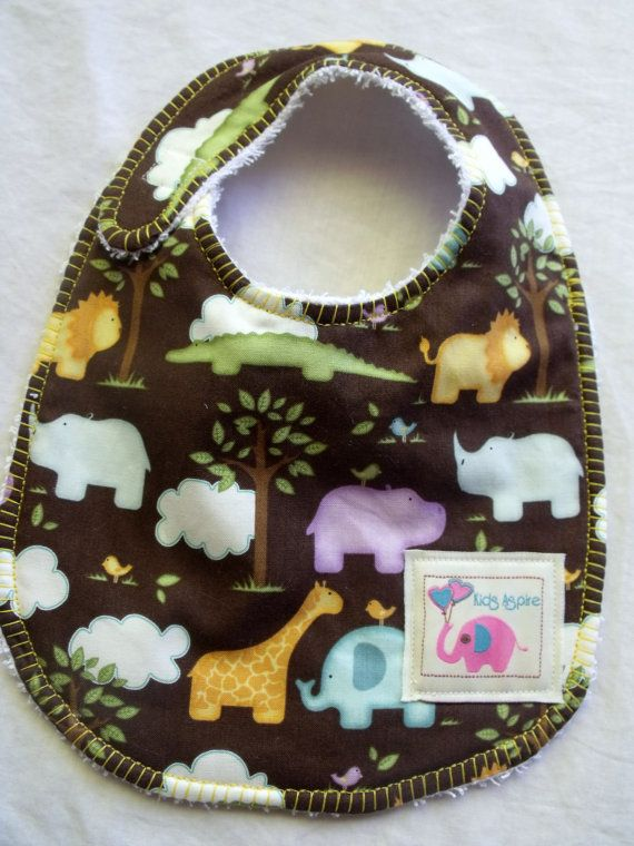 Baby Bib  boys animals jungle elephants lions by KidsAspire, $8.50