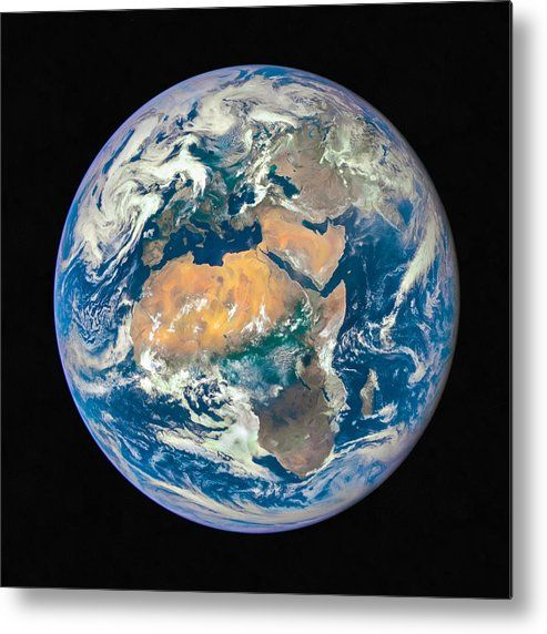 Blue Planet Earth Metal Print for sale. Africa is front and center in this image of Earth taken by a NASA camera on the Deep Space Climate Observatory (DSCOVR) satellite. The image gets printed directly onto a sheet of aluminum. Metal prints are extremely durable and lightweight. The high gloss of the aluminum complements the rich colors of the image. Credit: NASA. Edit: Matthias Hauser - Art for your Home Decor and Interior Design.