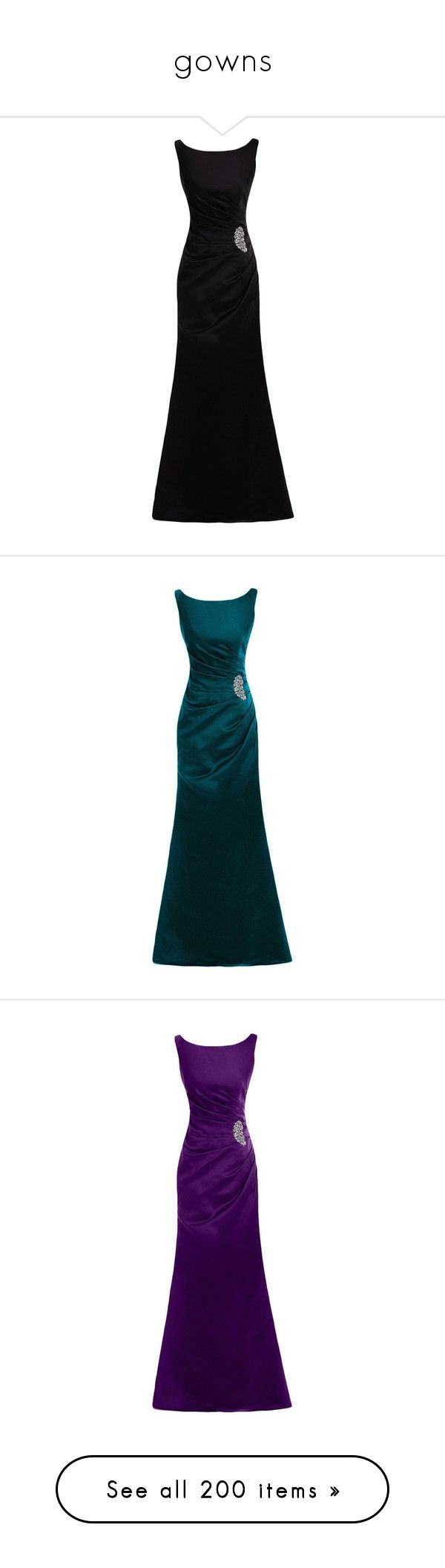 """gowns"" by kleinervampier ❤ liked on Polyvore featuring dresses, long dress, bridal dresses, satin cocktail dress, long satin dress, long bridal dresses, brides dresses, long length dresses, satin dress and blue cocktail dresses"