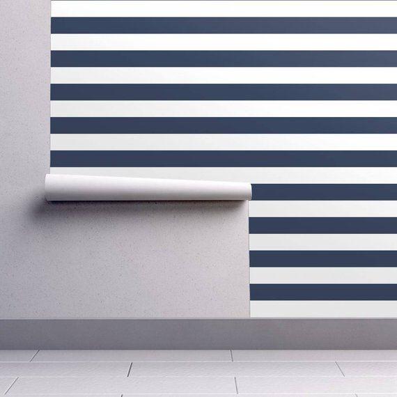 Stripes Wallpaper Navy And White Stripes Nursery By Andrea Etsy Striped Wallpaper Nautical Wallpaper Striped Nursery