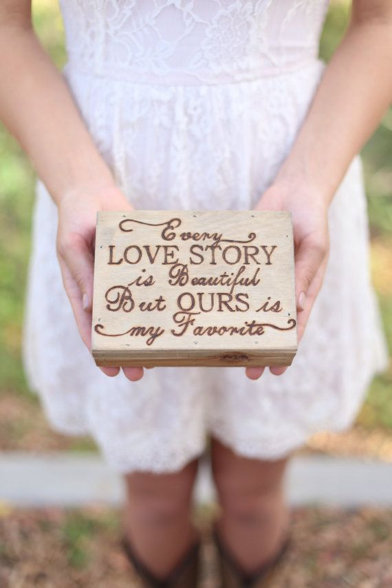 Personalized Rustic Ring Bearer Box Every Love Story Is Beautiful Engraved Wood QUICK shipping available