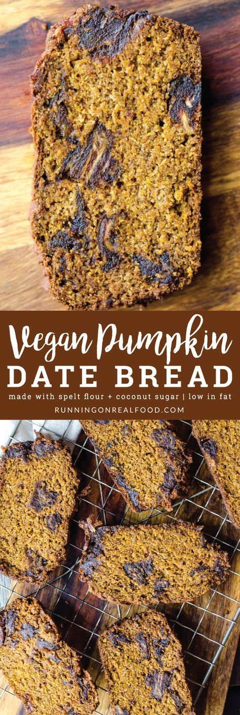 This vegan pumpkin date bread is rich, moist and decadent but surprisingly healthy. Amazing with a dab of of coconut butter and a cup of coffee on the side! You'll need spelt flour, coconut sugar, pumpkin puree and dates to make it, along with your other baking basics. Refined sugar free and low in fat.