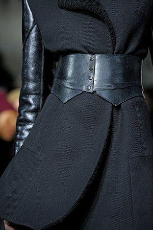 DKNY Fall 2012 black leather, wide belt