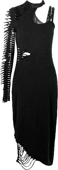 Gothic single shoulder dress slashed