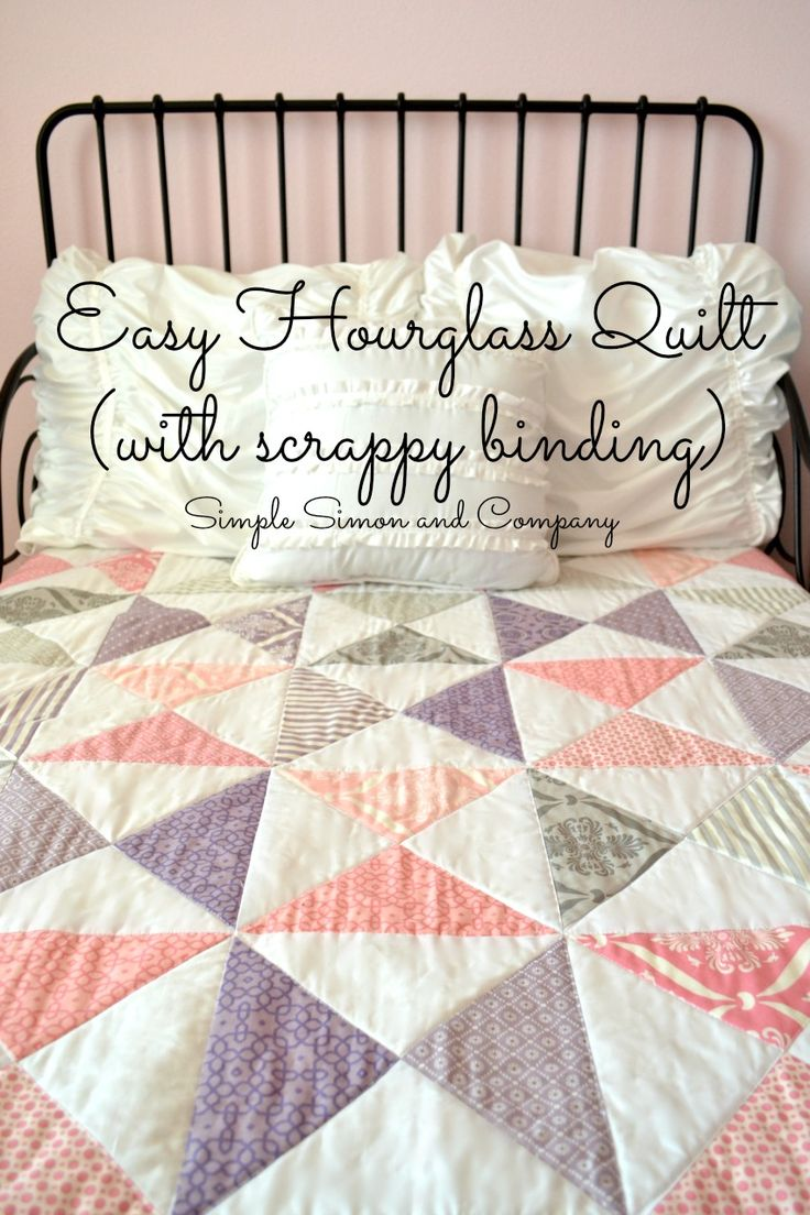 Hourglass Quilt With Scrappy Binding: Make this simple quilt top using just one type of quilt block!