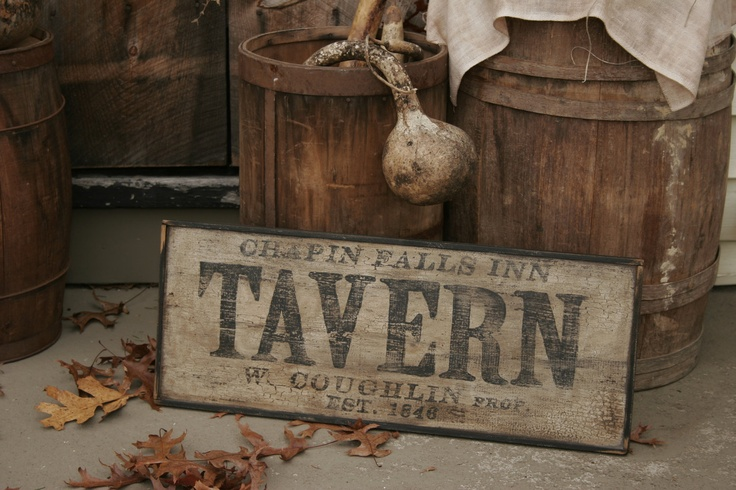 Personalized Early Antique Reproduction Primitive Wooden Tavern Sign. via Etsy.