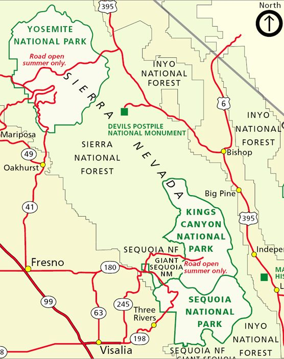 Map showing roads around Sequoia National Park
