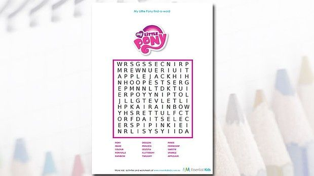 my little pony word search jessica pinterest