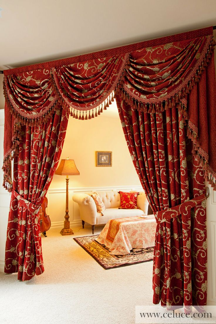 Louis XVI Royal Red  Classic Overlapping Style chenille embroidery swag valance curtain set