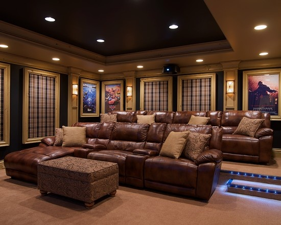 Media room theater rooms design pictures remodel decor for Furniture for media room