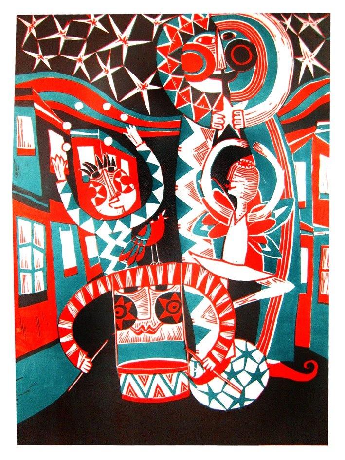 CARNAVAL  Xilografía color  45 x 60 cms. Alejandro Silva.