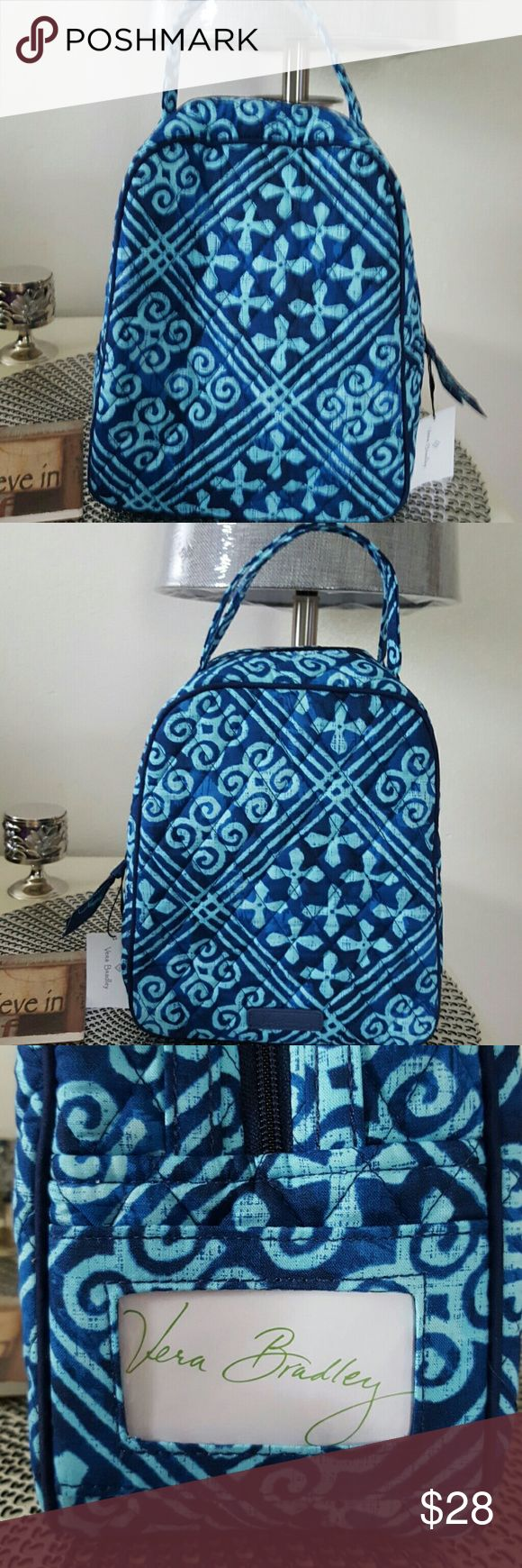 VERA BRADLEY LUNCH BAG Nwt.  CUBAN TILES pattern.  (Caribbean blues colors)  Lunch bag is plastic lined inside with a pocket.  On the side outside , it has a plastic coated ID slot with a card to put your name Vera Bradley Accessories