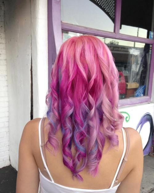 Magenta-HaarFarbe-pastel-pink-hair-with-purple-highlights ...