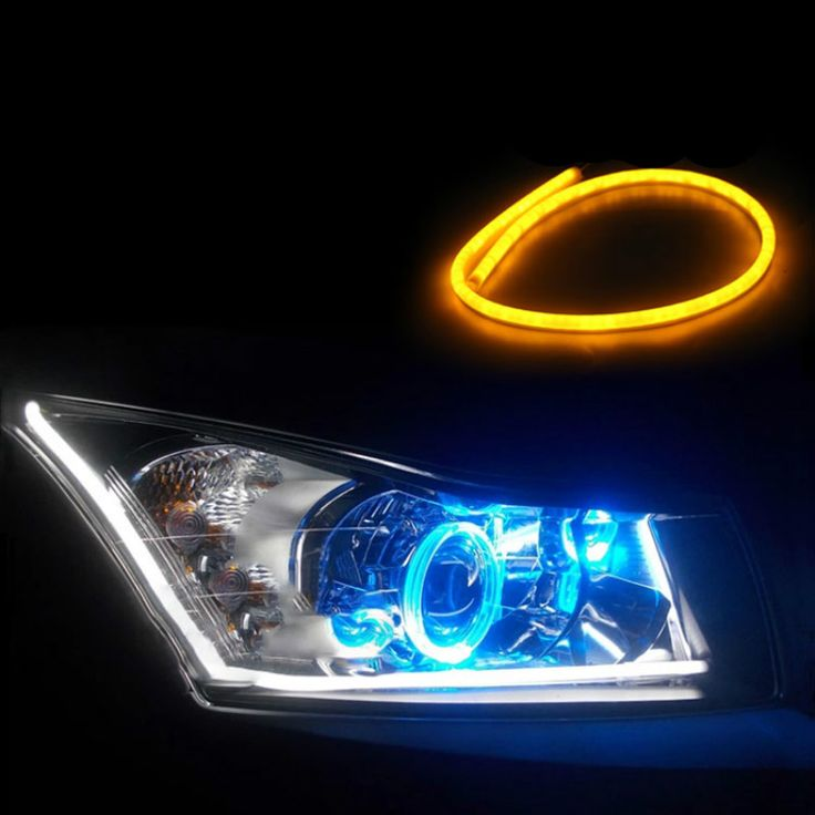 2pcs 85cm LED Daytime Running Light White+Yellow Flexible
