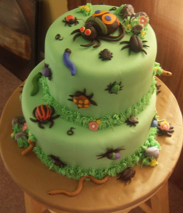 Awesome bug cake!! worms, spiders. birthday boy and girl twin triplet birthday ideas