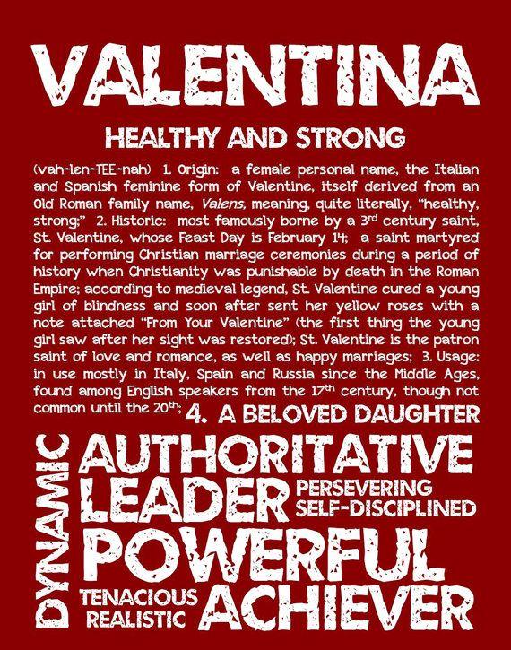 VALENTINA personalizada nombre impresión / por OhBabyNames en Etsy