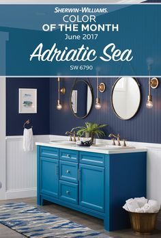 Ahoy, color-lovers. Our Color of the Month for June is inspired by the rich, deep depths of the Adriatic Sea SW 6790. Bold, blue and beautiful, even the smallest amount of this hue makes a big statement. Apply it for a pop of color in the kitchen, bathroom, laundry room or any other space inside or outside your house.