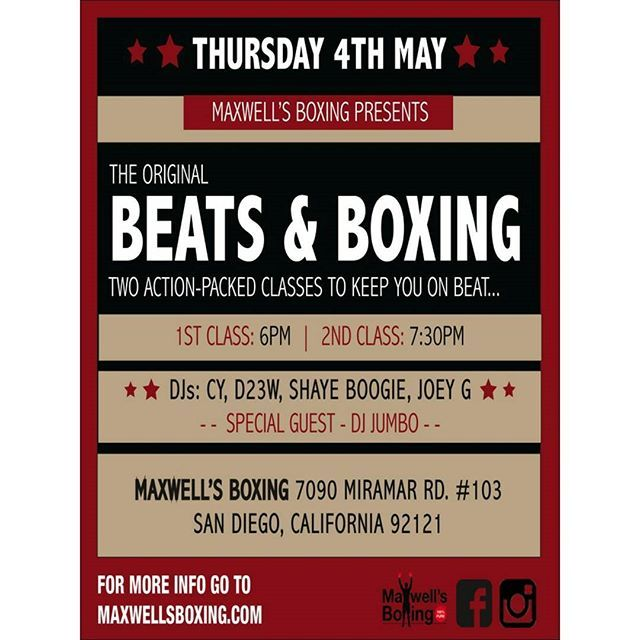 Thumpday Thursday tomorrow!  Join us for Beats & Boxing with Coach Gwena at 6pm & Coach Heidi at 7:30pm!  Get your workout grit on to live music mixes!  If you're not a member try a free class!  For more information about our boxing program please visit www.MaxwellsBoxing.com  #boxing #sandiegoboxing #gyms #sdgyms #fitness #sdfitness #health #sdhealth #music #fitnessmusic #hiphop #djs #sddjs #sandiego #miramar #miramesa #lajolla #pq #scrippsranch #maxwellsboxing #beatsandboxing…
