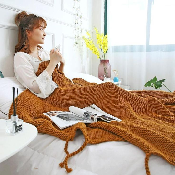 Knitted Blanket With Tassels, Warm snuggly blacket to cosy up with your special other.