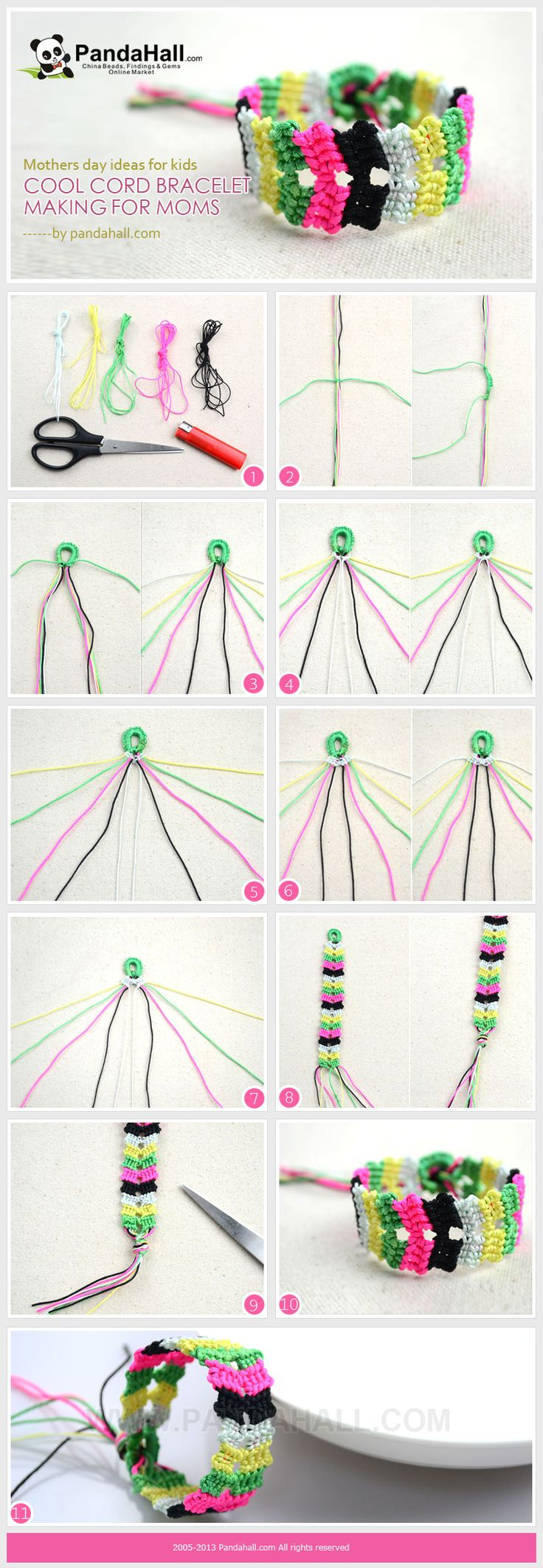 This cord bracelet making design is a pretty good choice of mothers day ideas for kids to do; scissors, the only tool used in this project is a relatively safe one for kids compared to other crafting kits.