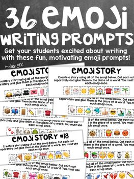 Use for fun, motivating morning work, writing prompts, or literacy centers! Print one copy of the emoji prompt for each of your students. (Students will each get a  page slip.) Your students will take their slip of paper and cut out each of the emoji.