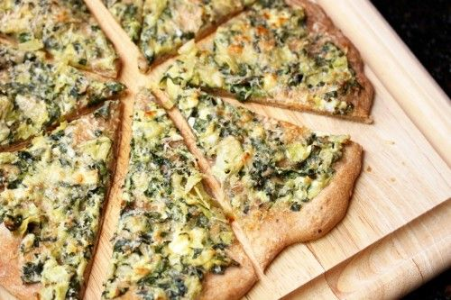 Spinach and Artichoke Pizza/you could also use white sauce..I have in Main Entrees  http://catesworldkitchen.com/2012/03/spinach-artichoke-pizza/