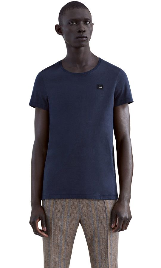 Acne Studios Standard Face Deep blue Face patch t-shirt