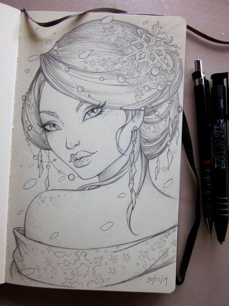Winter Geisha Moleskine sketch by Sabinerich.deviantart.com on @deviantART