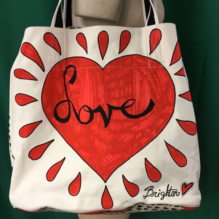 Brighton Love Tote 14 x 15 In Handbag Heart Doves White Red Black 100% Cotton #Brighton #TotesShoppers