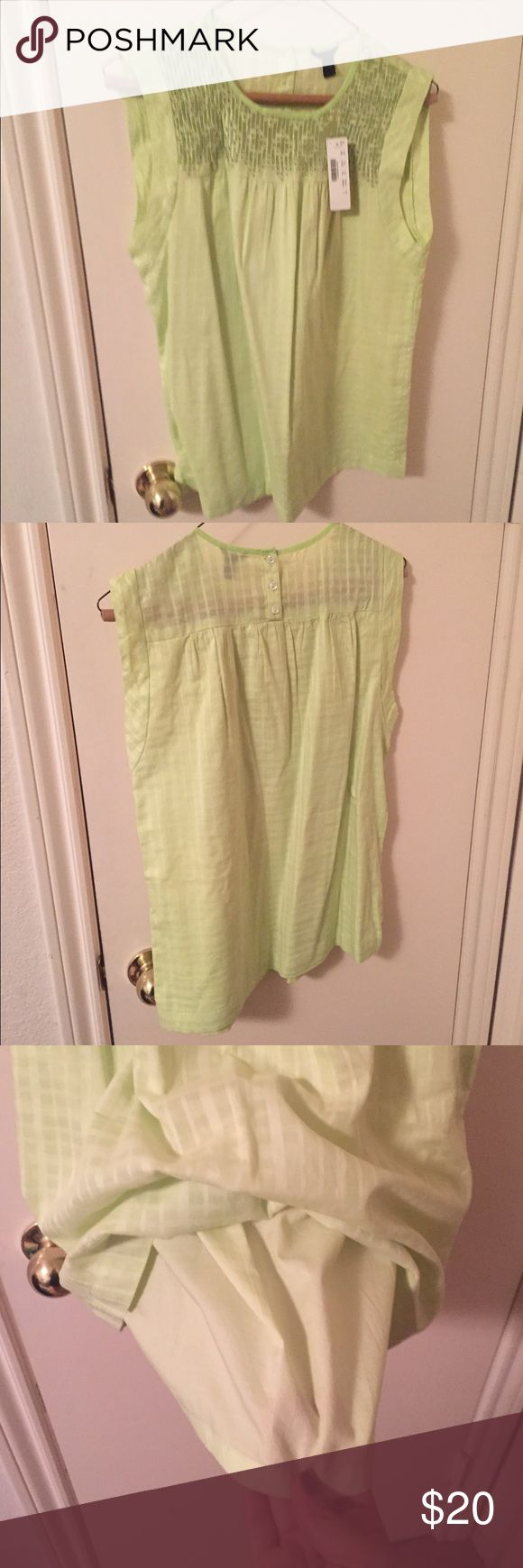 Chartreuse top Beautiful/soft fabric, fit, color & detail - 100% cotton. Blouse also includes lining (pic 3) J. Crew Tops Blouses