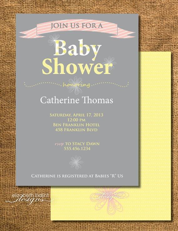 Baby Shower Girl Printable Invitation by ElizabethBalint on Etsy