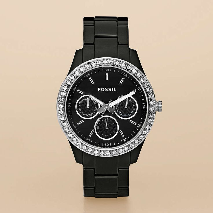 I want this watch!  (FOSSIL® Watch Collections Stella:Women Stella Resin Watch - Black with Stones ES2157)