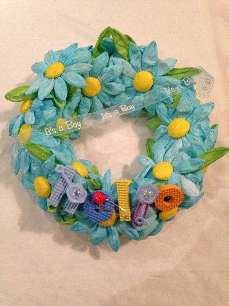 Congratulations on baby boy wreath