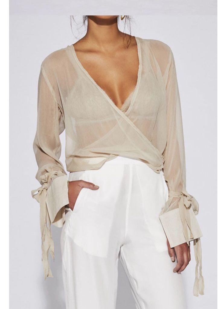 Sheer beige wrap blouse, white trousers. – #beige …