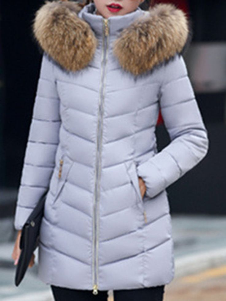 Casual Pure Color Faux Fur Hooded Long Sleeve Women Down Coats