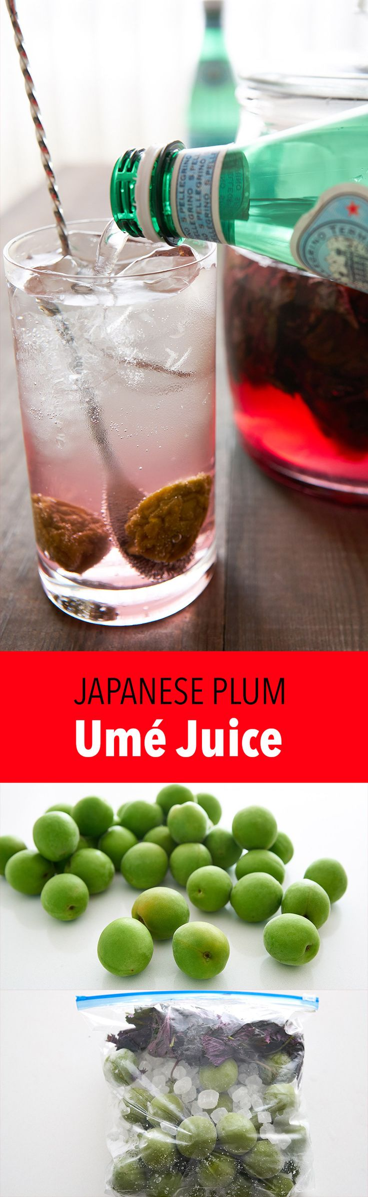 Learn how to make Umé juice (梅ジュース), a popular summertime beverage in Japan made from a syrup extracted from Umé fruit (Japanese Plum)
