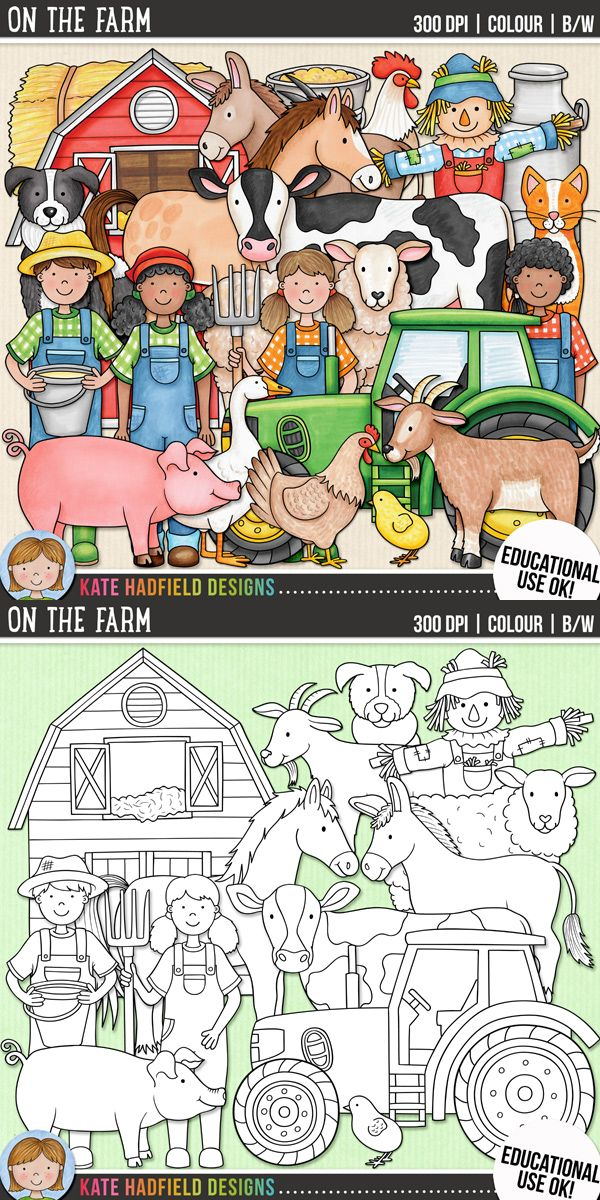 Cute farm animals clip art for teachers! Contains coloured clipart and black and white outlines at 300 dpi for highest quality printing for your resources and projects! | Hand-drawn clip art by Kate Hadfield Designs at Teachers Pay Teachers