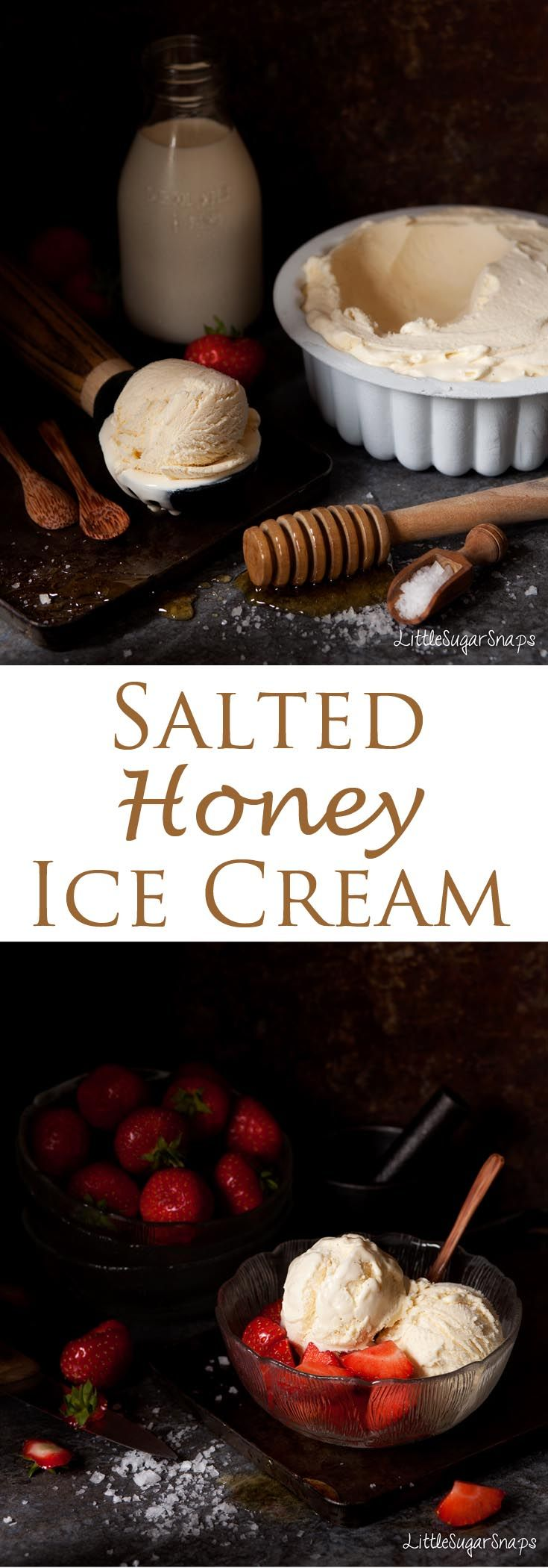 Salted Honey Ice Cream combines mellow sweetness with a subtle twang of salt. It can be scooped straight from the freezer and it is exceptionally creamy. Great with strawberries.